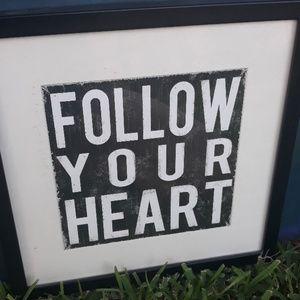 Follow your heart framed artwork home decor